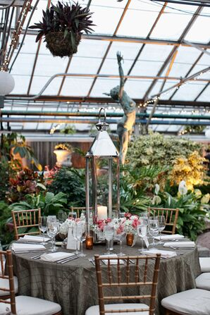 Large Lanterns With Candles and Greenery