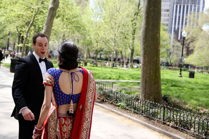 First Look in Rittenhouse Park at Multicultural Wedding