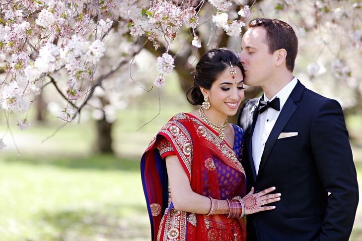 Kaveri Arora (31 and a lawyer) and Michael Turner (32 and a lawyer) had a beautiful springtime interfaith wedding at the Philadelphia Horticultural Ce