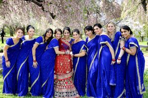 Bridesmaids in Royal Blue Saris With Gold Trim