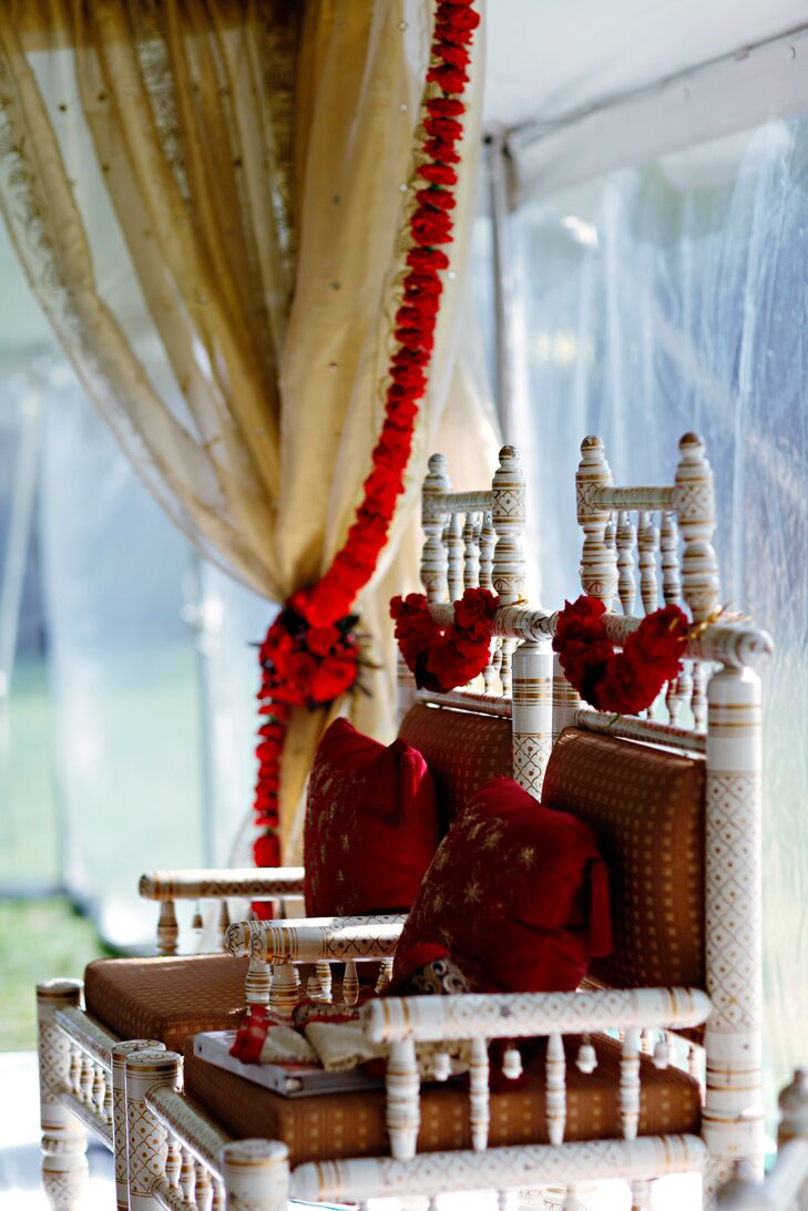 Red and Gold Mandap Decor