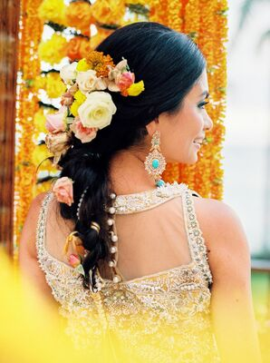 Bride with Flower Accents in Hair