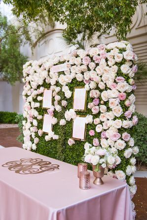 Pink and Ivory Floral Wall With Escort Cards
