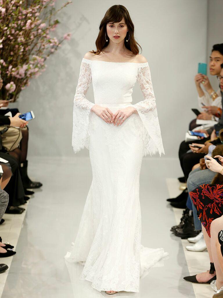 White Bell Sleeve Wedding Dress – Fashion dresses