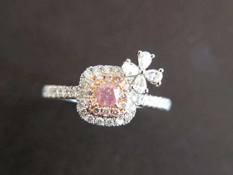 Luster Gems pink diamond engagement ring with white diamonds in white gold