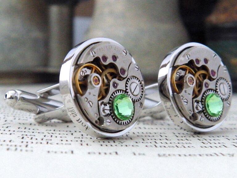 Peridot cufflinks 16th anniversary gift
