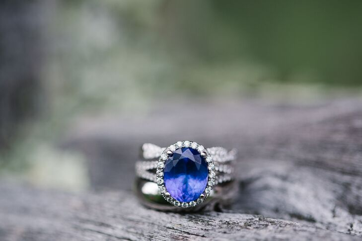 Diamond Halo Sapphire Engagement Ring