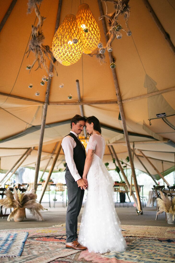 Couple Portraits Under Tent in Driftwood, Texas
