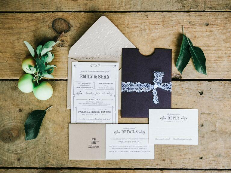 Brown arrow motif wedding invitation suite with lace