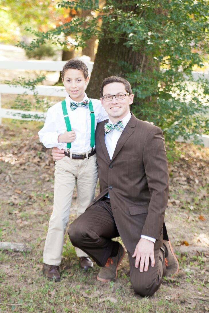 Colorful green and blue plaid bow ties matched the bride's peacock feather hair accessory.