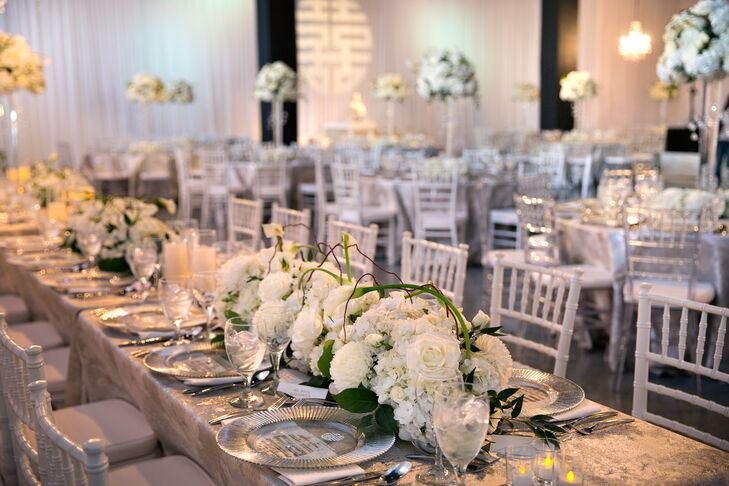Long, Low Hydrangea, Calla Lily and Rose Centerpieces