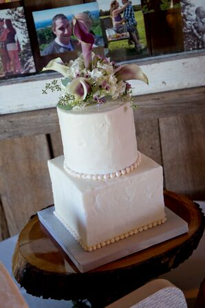 Ivory Cake Topped with Calla Lilies