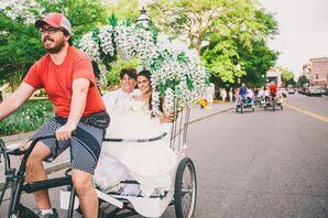 Flower-Decorated Rickshaw Wedding Transportation
