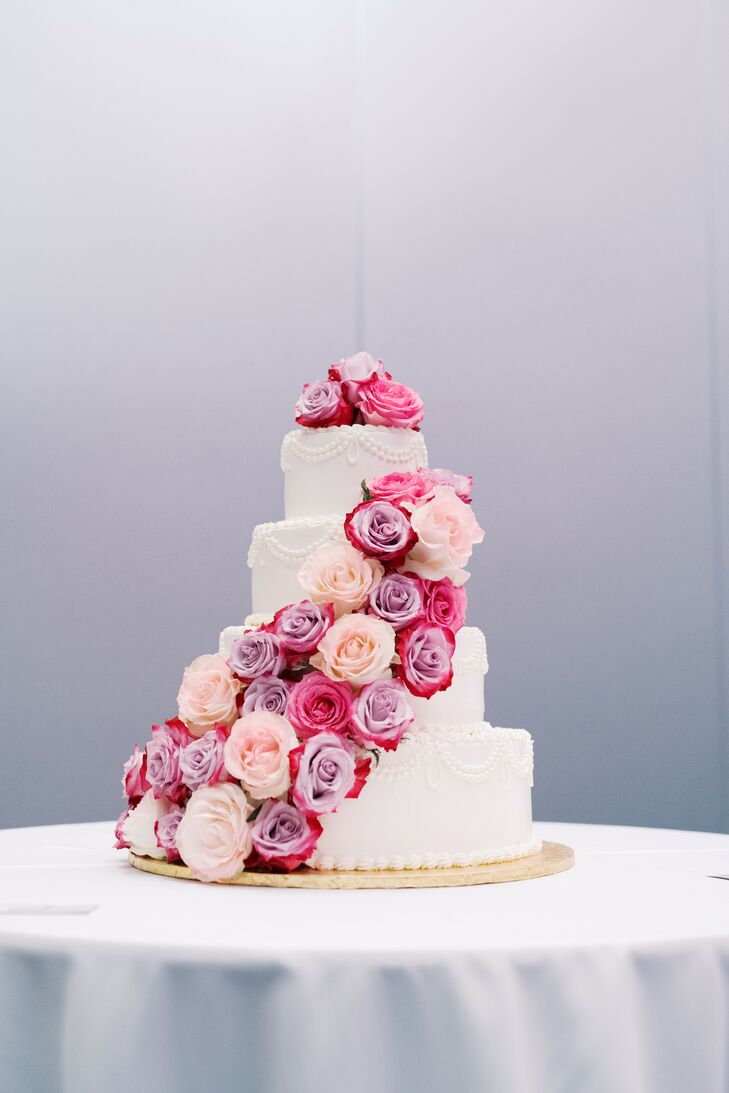 Wedding Cake with Cascading Pink-and-Purple Roses