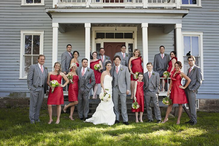 Gray and Red Wedding Party Attire