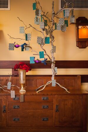 Escort Card Display on Tree Branches