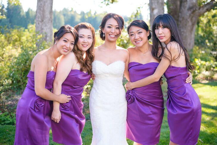 3f5080ca1b Bride With Purple Dressed Bridesmaids