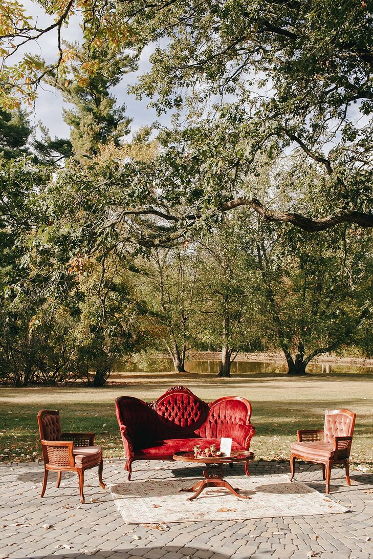 Vintage Lounge Area at Outdoor Fall Wedding