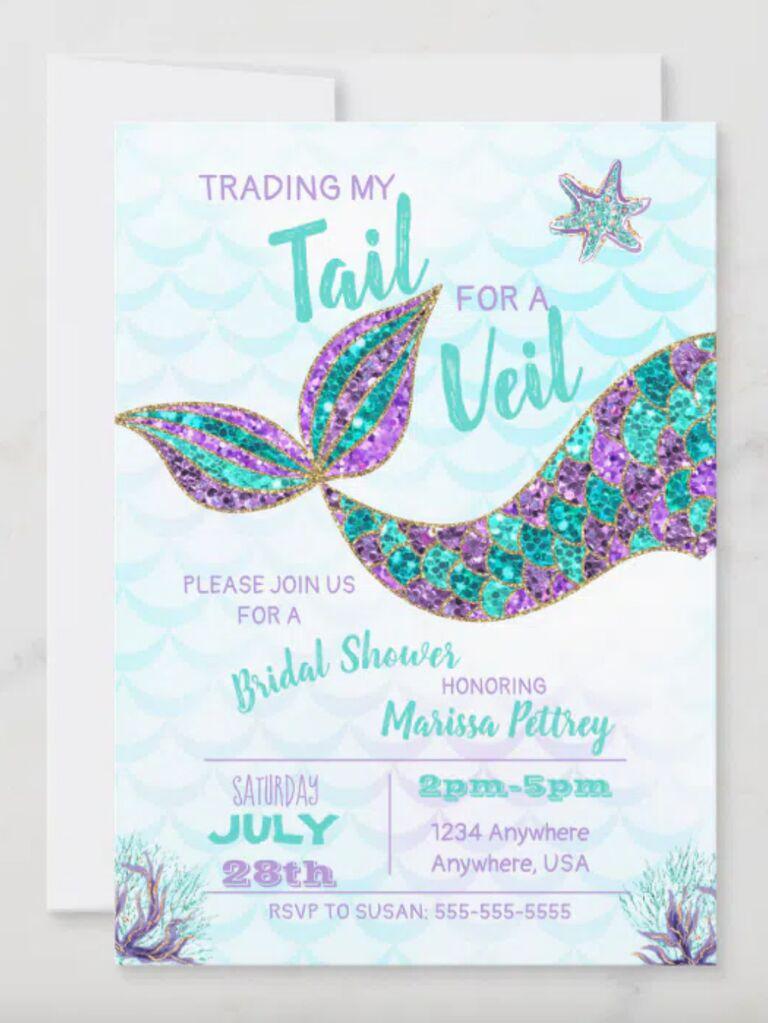 mermaid bachelorette party invitations glittery mermaid tail