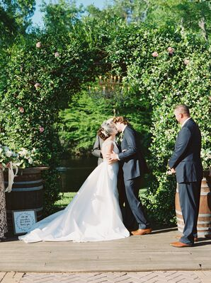 First Kiss at The Carriage House Outdoor Ceremony Site