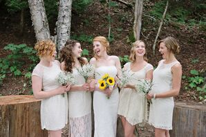Cream-Colored Lace Bridesmaid Dresses