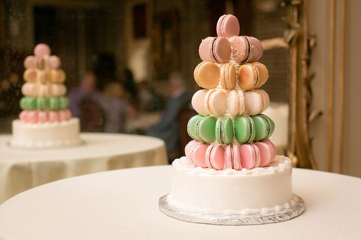 """""""After visiting Paris a couple of times, I fell in love with macarons,"""" Amber says. """"We decided to have a macaron tree with a cake base for our wedding cake. It was delicious!"""" Macarons are a specialty at Sucre, so it was no surprise that they chose the whimsical, single-tier confection."""