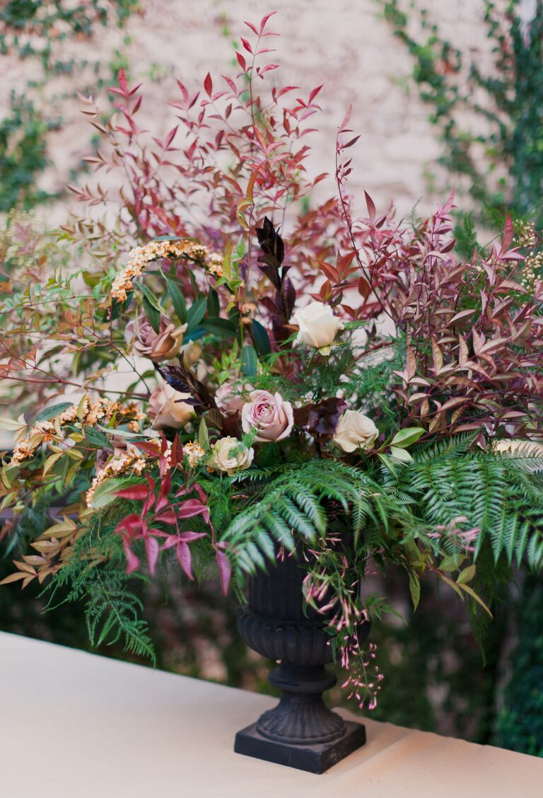Enchanted forest fern wedding decor