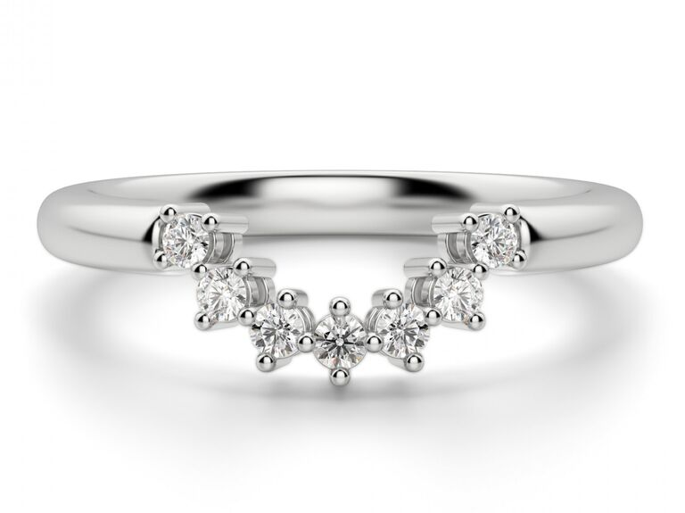 curved diamond wedding ring nesting band