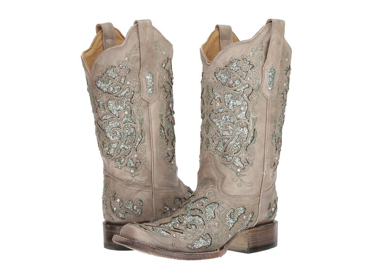 Sparkly wedding cowboot boots