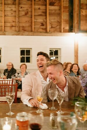 Couple Shares Laugh During Massachusetts Rehearsal Dinner