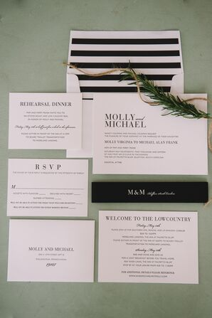 Simple Black-and-White-Striped Invitation Suite