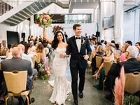 Seattle couple during wedding recessional