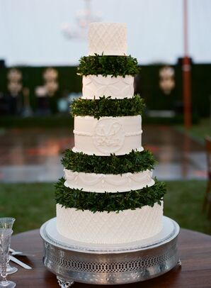 Tiered Buttercream Cake with Boxwood Garland