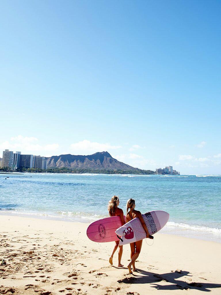 Surfers on Waikiki Beach