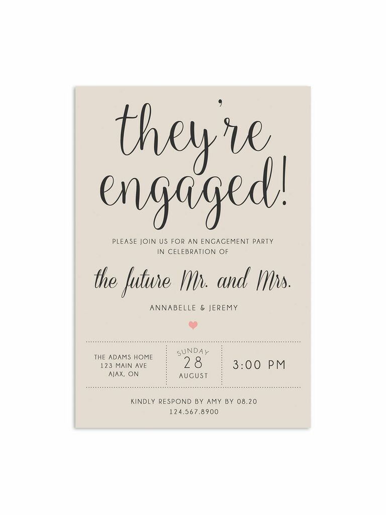 Traditional romantic engagement party invitation
