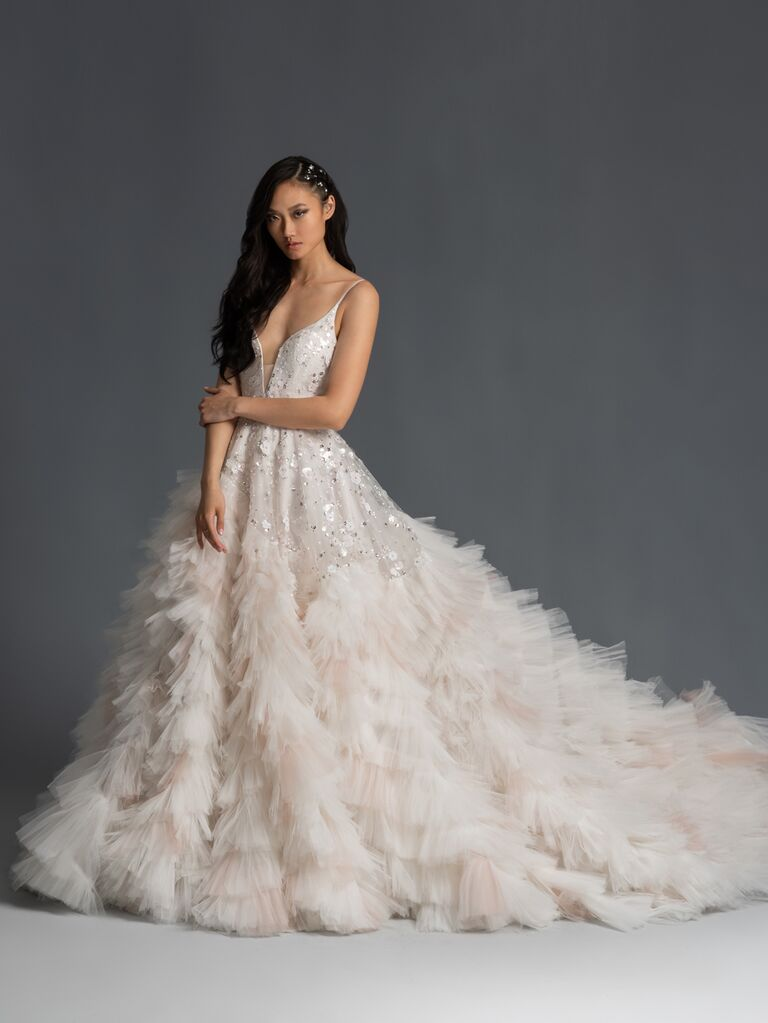 Hayley Paige Fall 2019 Bridal Collection ruffled tiered sparkly A-line wedding dress