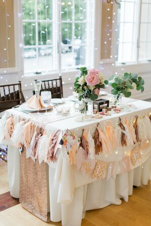 Sweetheart Table With String Light Backdrop