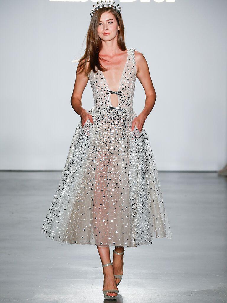 Sparkly Tea-Length Wedding Dress