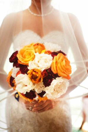 Red, Orange and White Bridal Bouquet