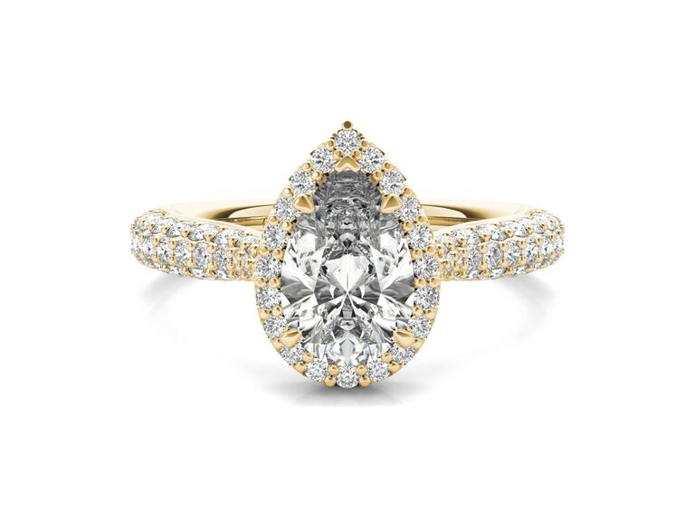 Ritani three-row pave diamond halo engagement ring in 18K Yellow Gold