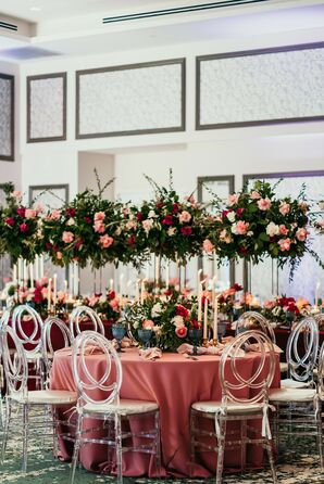 Tall and Dramatic Reception Centerpieces for Florida Wedding