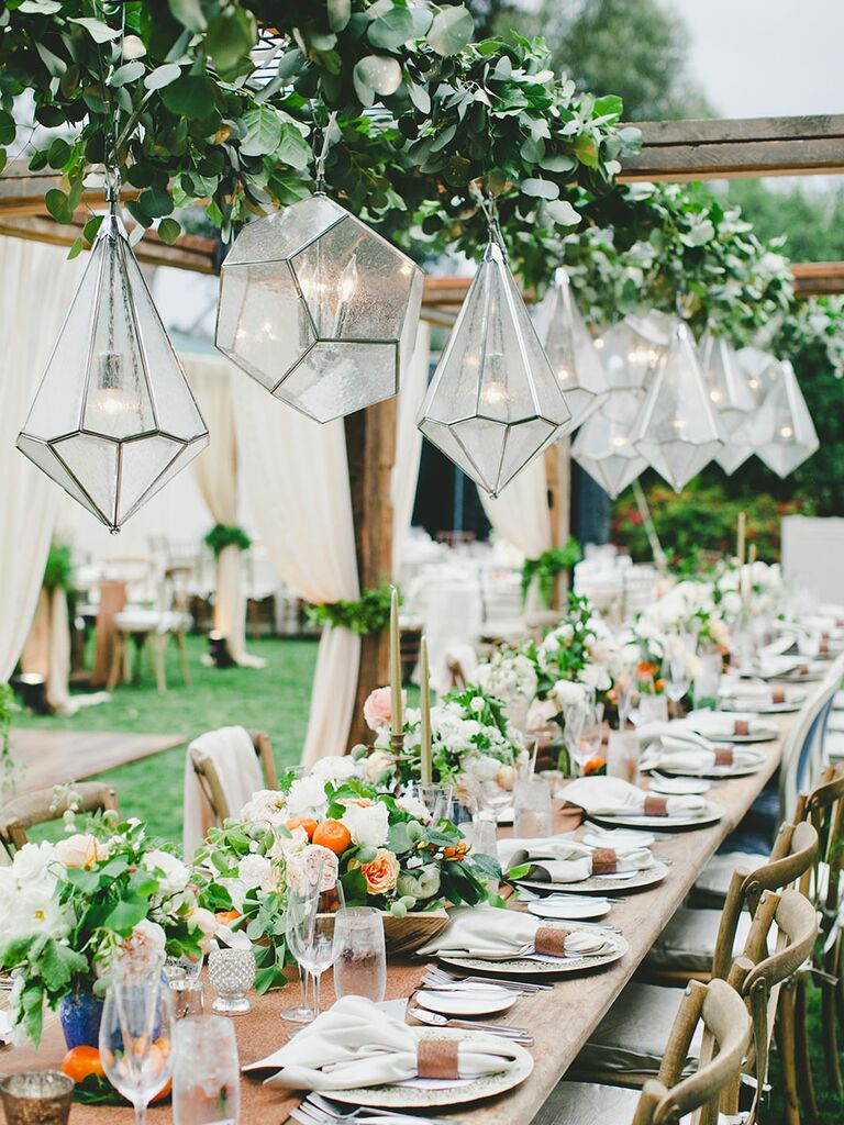 Hanging chandeliers for rustic outdoor wedding