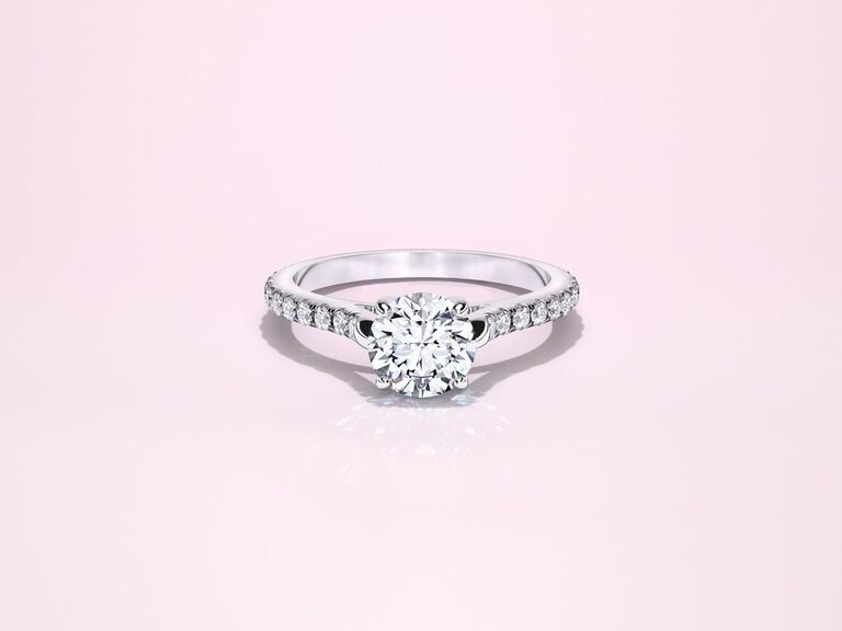 Lab grown diamond engagement ring with pave band