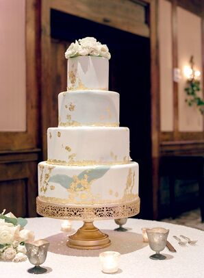 Tiered Cake with Gold Leaf Detailing