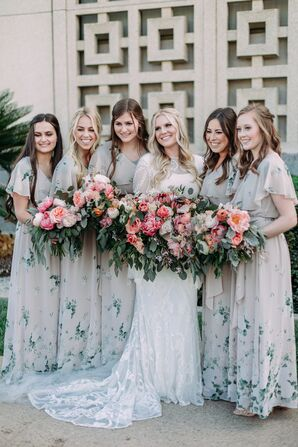 Bohemian Floral-Print Bridesmaid Dresses