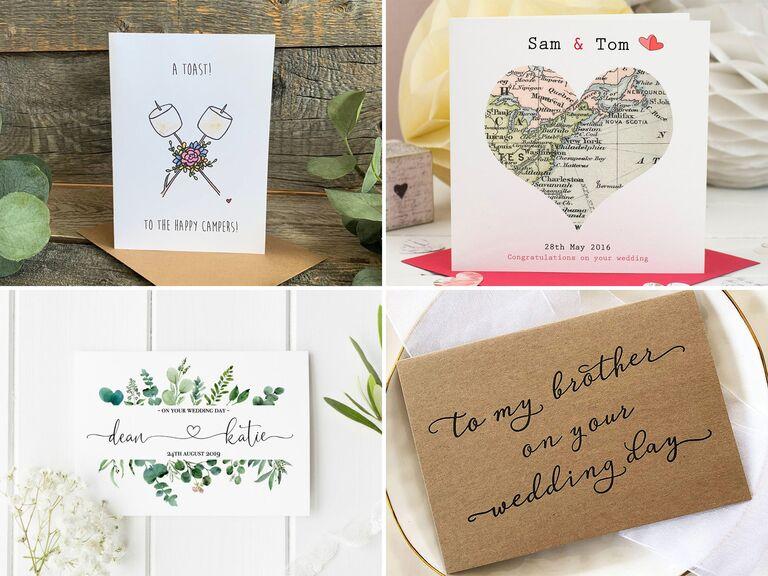 Personalized Wedding Card  Custom Wedding Card  Happy Wedding Day  Congrats Wedding Card  Floral Wedding Card Wedding Card with Names