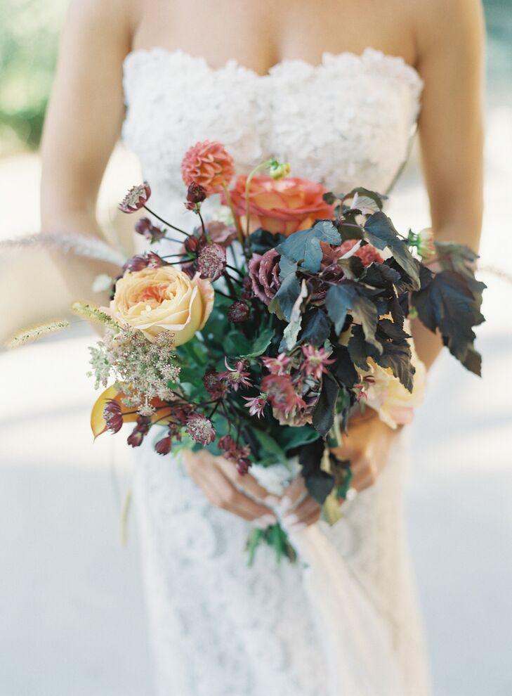 Colorful, Organic Bouquet of Ninebark, Plum Astrantia and Tea Roses