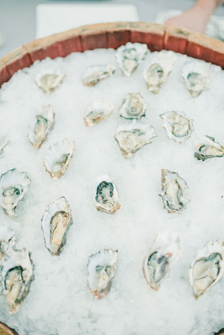 Fresh Oyster Shells in Ice Bucket