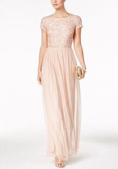 Adrianna Papell Adrianna Papell Sequined Tulle A-Line Gown Bateau Bridesmaid Dress