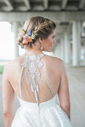 Glam Embellished Illusion Back Wedding Dress